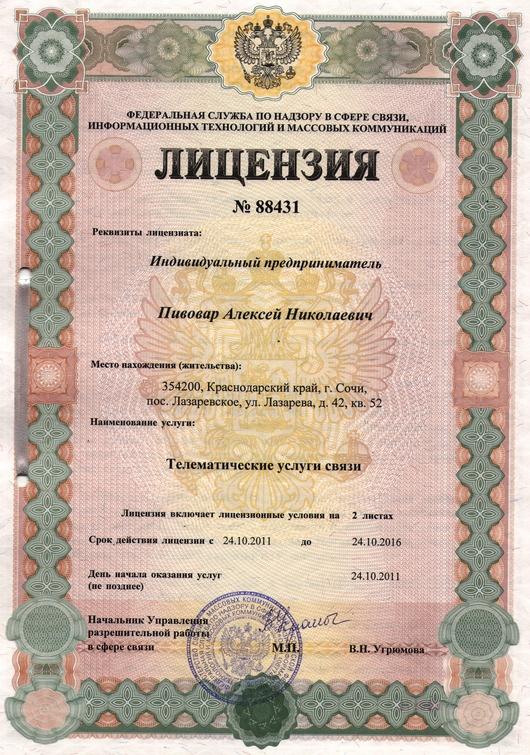 Лицензия Телематические услуги.